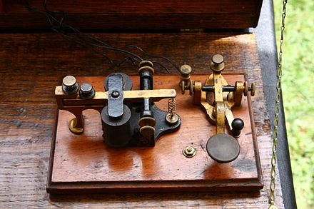 Morse key and sounder Wallace Study-Telegraph.jpg
