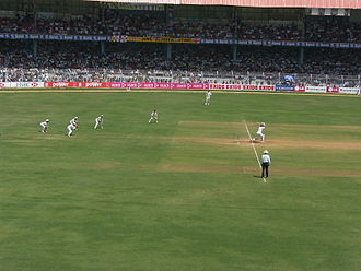 India national cricket team - The Indian cricket team in action in the Wankhede Stadium