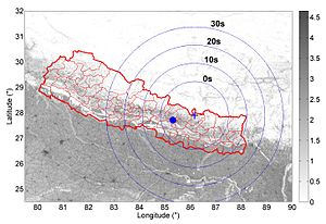 Earthquake warning system - Image: Warning time Nepal Earthquake