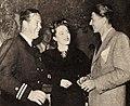Wayne Morris, Eleanor Parker, and Ronald Reagan at Warner's party, 1946.jpg