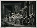 Wealthy men and women carousing in a stately bedroom. Engrav Wellcome V0019452.jpg