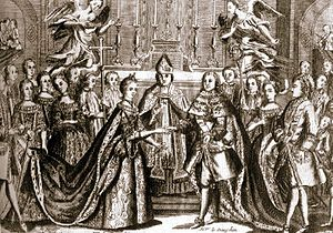 Chapels of Versailles - Engraving of the wedding ceremony of Marie Antoinette and the future Louis XVI, who were married in the chapel on May 16, 1770.
