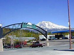 Entrance to Weed in 2004, with Mount Shasta in the background.