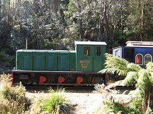 West Coast Wilderness Railway - Diesel locomotive at Teepookana