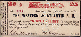 Western and Atlantic Railroad - Image: Western & Atlantic Railroad 25¢ bearer certificate 1862