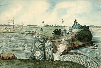 Bytown - Image: Western and Lesser Fall of the Rideau River; Barrack Hill and Upper Bytown in the left Distance, 1826