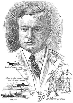 Albert E. Smith (producer) - Portrait of Albert E. Smith by Harry S. Palmer, with illustrations of some of his favorite hobbies