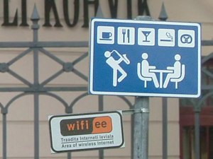 Sign for a Wireless access point in Tartu, Estonia