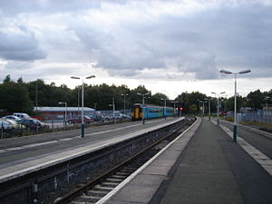 Wigan Wallgate railway station - View along the platform in the Southport direction. The bay platform (Plat 3) is clearly visible in the foreground.