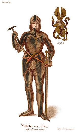 Wilhelm von Bibra - Lithograph from Geschicte der Familie der Freiherrn von Bibra, 1870.  Note gilded (gold) armor) as a Knight of the Golden Spur, an honoree by July 8, 1490