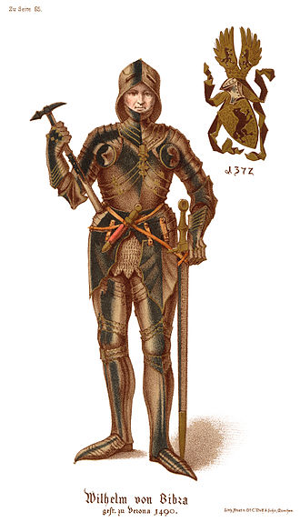 Wilhelm von Bibra - Lithograph from Geschicte der Familie der Freiherrn von Bibra, 1870.  Note gilded (gold) armor) as a Knight of the Golden Spur, an honoree by July 8, 1490