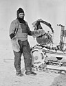 William Lashly standing by a Wolseley motor sleigh during the British Antarctic Expedition of 1911-1913, November 1911 (4078338073).jpg