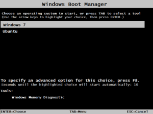 Wubi (software) - A boot menu in Windows 7 showing options to start Ubuntu, which was added by the Wubi installer.