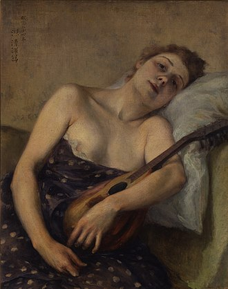 Kuroda Seiki - Kuroda was in France when the mandolin was spreading in the early 1890s. He painted this in France within a couple years of returning to Japan, about 10 years before the mandolin arrived in his home country.