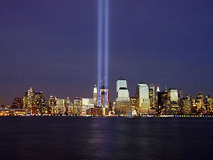 Light beam - Light beams were used to symbolize the missing towers of the World Trade Center as part of the Tribute in Light.