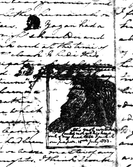 A portion of George Fletcher Moore's handwritten diary, showing sketches of Yagan's head Yagan's head from Moore's diary.png