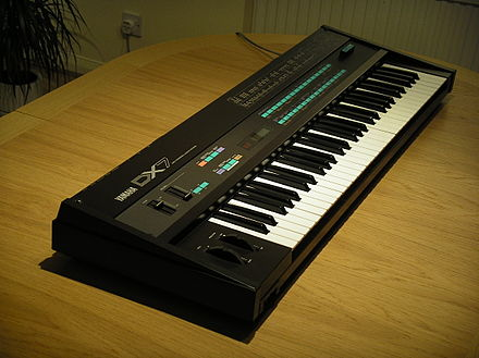 The Yamaha DX7, released in 1983, was the first commercially successful digital synthesizer and was widely used in 1980s pop music. Yamaha DX7 Table 4.JPG