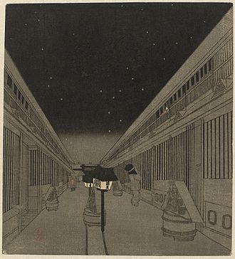 Night in paintings (Eastern art) - Utagawa Kunisada II, Yoshiwara by night