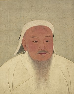 Genghis Khan - Genghis Khan as portrayed in a 14th-century Yuan era album; the original version was in black and white. Original size is 47 cm wide and 59.4 cm high. Paint and ink on silk. Now located in the National Palace Museum, Taipei, Taiwan.