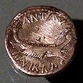 Zecca itinerante, denario in argento di marco antonio con nave con scettro legato sulla prua, 32-31 ac.jpg
