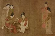 Zhou Fang. Court Ladies Playing Double-sixes. Freer. Detail.jpg