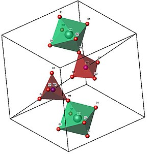 Zirconium tungstate - An image of the crystal structure of cubic ZrW2O8, showing the corner-sharing octahedral (ZrO6, in green) and tetrahedral (WO4, in red) structural units. An incomplete unit cell is shown so that the positioning of the W2O8 unit along the body diagonal of the unit cell may be seen.