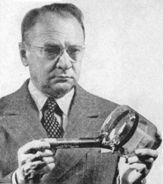 Video camera tube - Zworykin holding an iconoscope tube