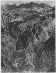 """North Palisades from Windy Point, Kings River Canyon (Proposed as a national park),"" California, 1936. (vertical orient - NARA - 519934.tif"