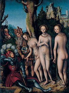 'The Judgment of Paris', by Lucas Cranach the Elder, c. 1512-14, Kimbell Art Museum.jpg