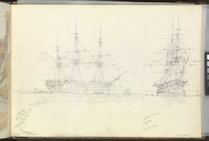 (Recto) The 'Napoléon', French 100-gun screw ship, and the 'Jupiter', French 80, in Besika Bay, July 1853; (verso) a coastal magazine(?) on a headland, 21 May 1853 RMG PZ0880-001.tiff