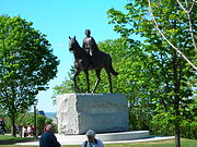 Equestrian statue of Elizabeth II, Commander-in-Chief of the Canadian Forces, on Parliament Hill, Ottawa.