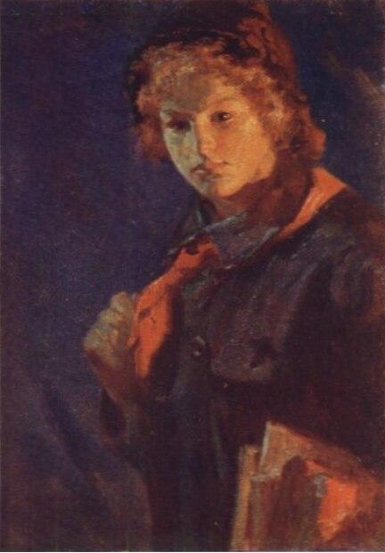 Картина Н. А. Касаткина «За учёбу. Пионерка с книгами», 1925