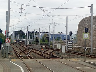 Luas - The Luas Park and a junction at Sandyford