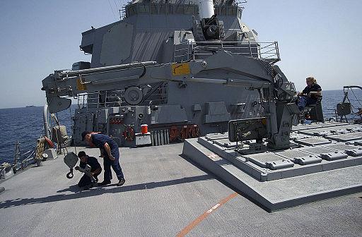 020805-N-XP218-008 USS Hopper VLS Strikedown Crane