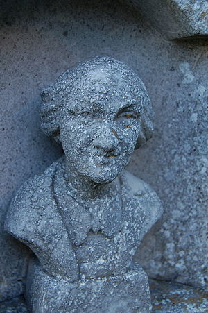Nicolai Poliakoff - Stone carving of Coco the clown on his gravestone at Woodnewton.