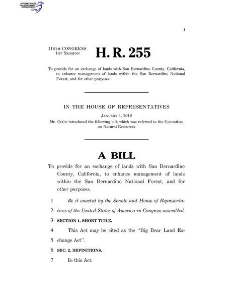 File:116th United States Congress H. R. 0000255 (1st session) - Big Bear Land Exchange Act.pdf