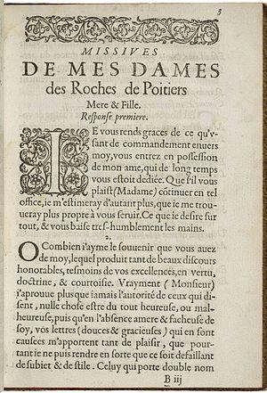 Madeleine Des Roches - The first page of Des Roches' Les missiues de Mes-Dames Des Roches de Poitiers mere et fille.