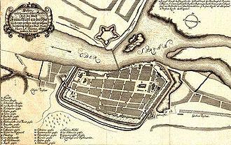 Słubice - Frankfurt with eastern bridgehead (above), 1701