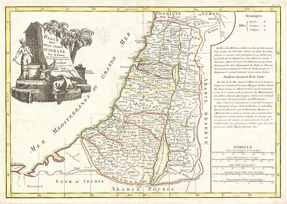 1770 Bonne Map of Israel showing the Twelve Tribes - Geographicus - Israel-bonne-1770