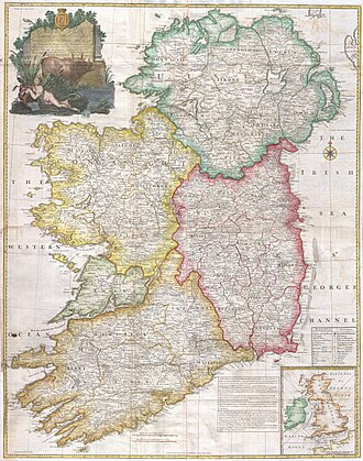 Constitution of 1782 - A map of the Kingdom of Ireland dating from the period of legislative independence (1782-1800)