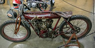 Indian Motocycle Manufacturing Company - 1912 Indian Board Track Racer, on display at the California Automobile Museum