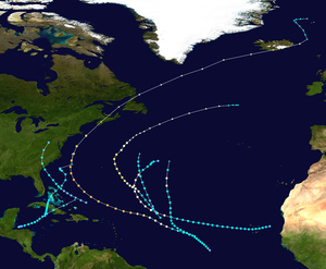 1927 Atlantic hurricane season - Image: 1927 Atlantic hurricane season summary map