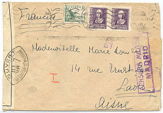 Postal history - Postal censorship of 1940 civil cover from Madrid to Paris opened by both Spanish and French (Vichy) authorities