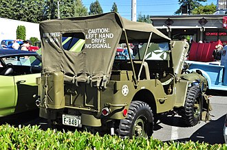 Willys MB - Initially, Ford and Willys embossed their brand names on some of their jeeps' panels, but the U.S. government forbade this in 1942.
