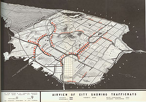 Central Freeway - Map from the 1948 Transportation Plan for San Francisco (downtown at the bottom)