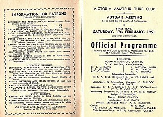Comic Court - Image: 1951 VATC St George Stakes Racebook P2