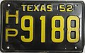 1952 Texas license plate HP 9188.jpg