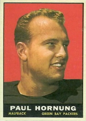 "Green Bay Packers - The ""Golden Boy"" Paul Hornung, featured on a 1961 sports card"