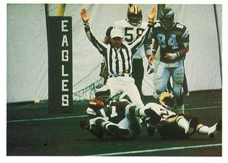 History of the Philadelphia Eagles - Wide receiver Harold Carmichael scoring a touchdown for the Eagles in 1977.