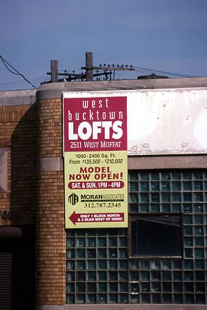 Logan Square, Chicago - Sign in 1999 describing lofts apartments for sale in West Bucktown